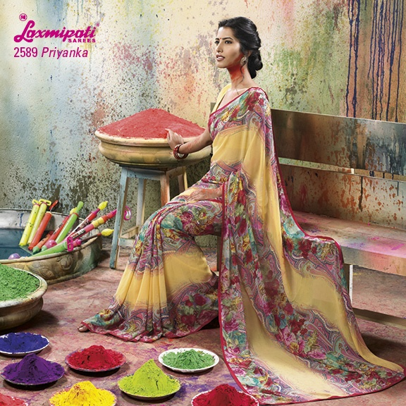 LP_2589 - YELLOW & FLORAL PRINT WITH GEORGETTE