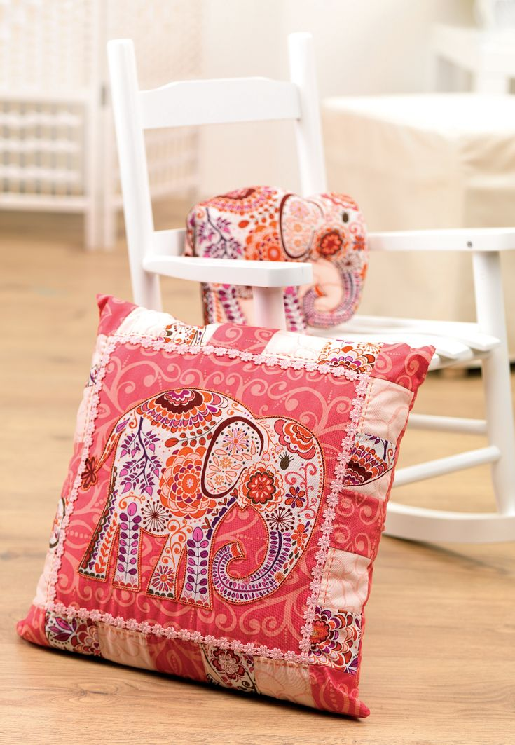 Make the most of dramatic prints with this soft furnishing set. Constructed from simple shapes these items are easy to make and the addition of neat hand stitches highlights the bold motifs. Choose a fabric with a large motif that you can turn into your plush toy, in this case a gorgeous elephant.
