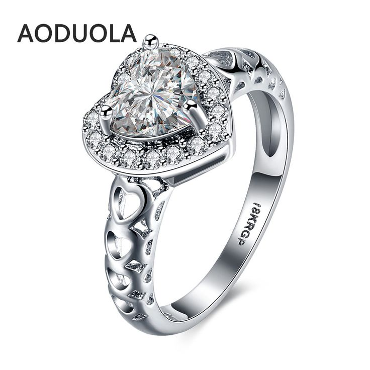 Heart Ring Platinum Plated with Crystal Zirconia Women's Cheap Rings Ladies and Girls Jewelry For Female Love Engagement Wedding
