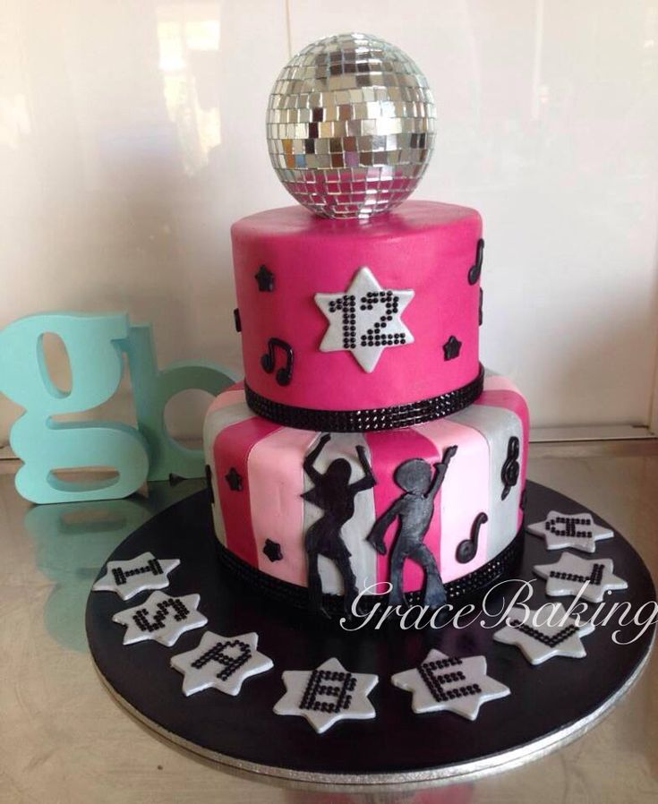 Two tier girls disco cake by Grace Baking