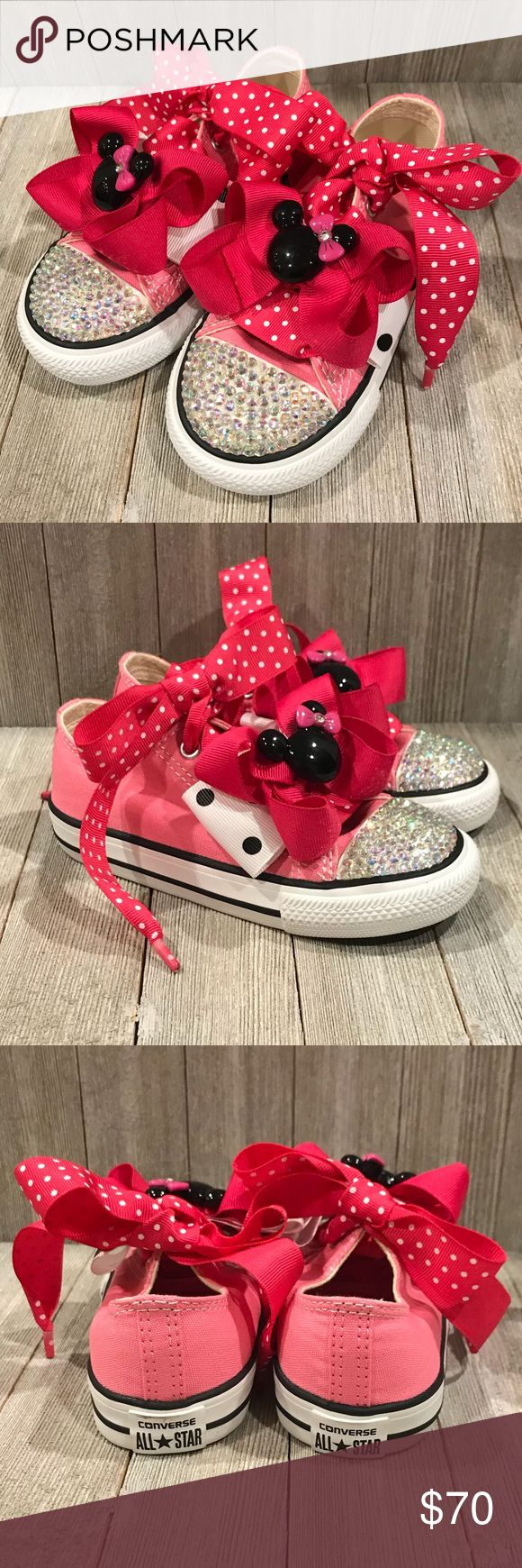 Converse All Star with Crystal Accent and Bows Brand New in Box Converse All Star with crystal accent and matching bows. Color: Bubble gum pink, white, black trim. AB crystal accent, ribbon laces, 2 bows that clipped onto the laces of each shoes (removable), and matching hair bow. Comes with original white laces. Shoes have not even been tried on....so they have never been worn. I purchased to use for a birthday and they were too big and got thrown in the back of a closet. Now too close to…