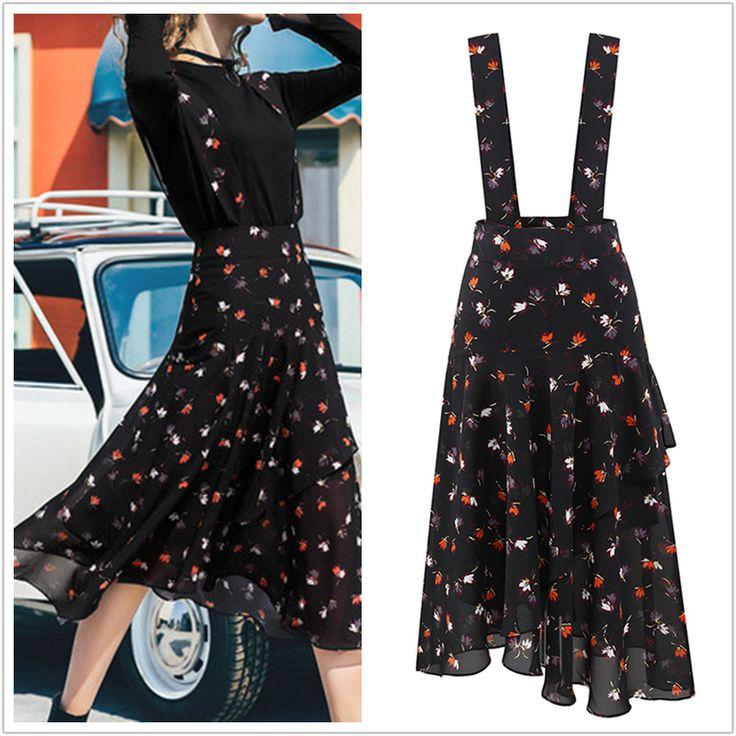 Black Floral Falbala Suspender Skirt SP179850