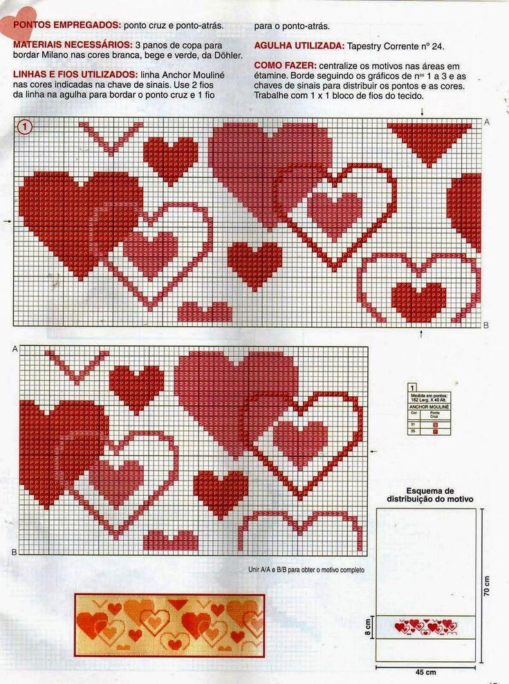 **Blog Amor Perfeito** Gráficos de ponto cruz: Corações Mais