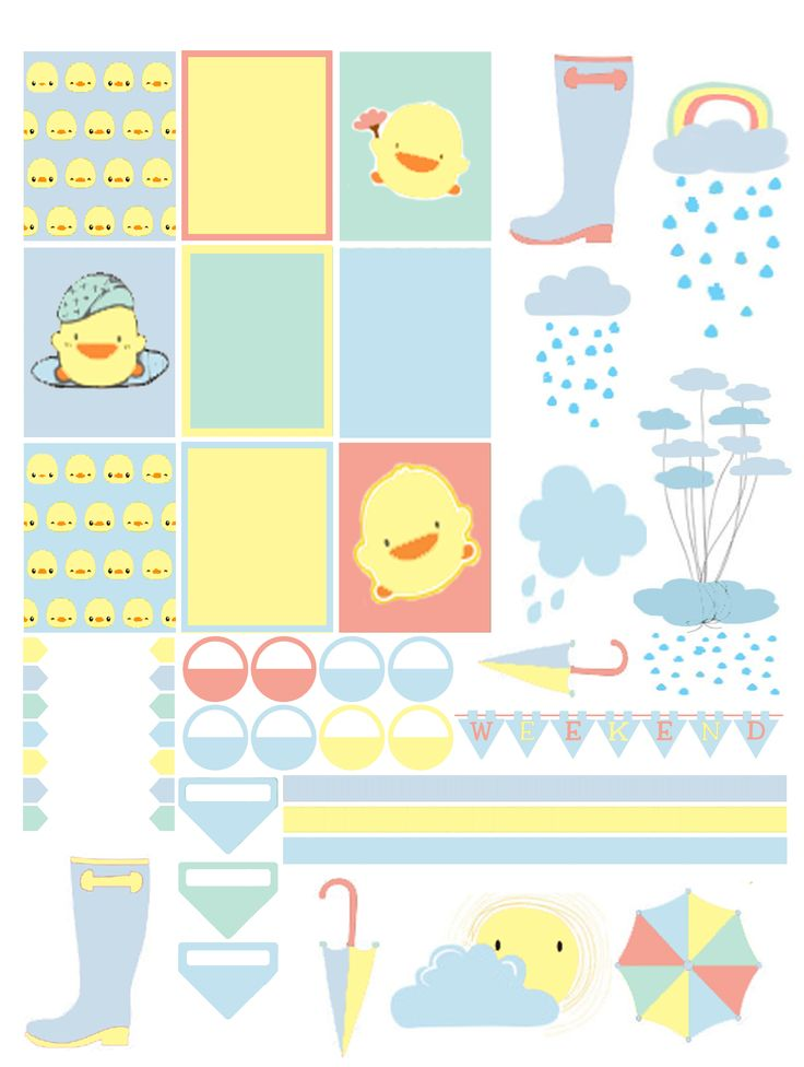 Free April Showers Planner Stickers Printable