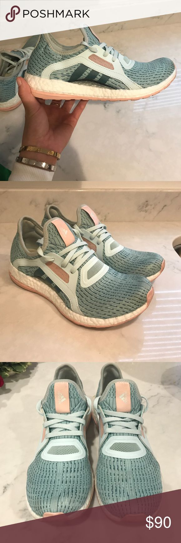 Adidas Pure Boost In excellent condition. Super light, comfortable, and stylish. Purchased at Kith. Pale blue, light pink, and white are the main colors. adidas Shoes Athletic Shoes