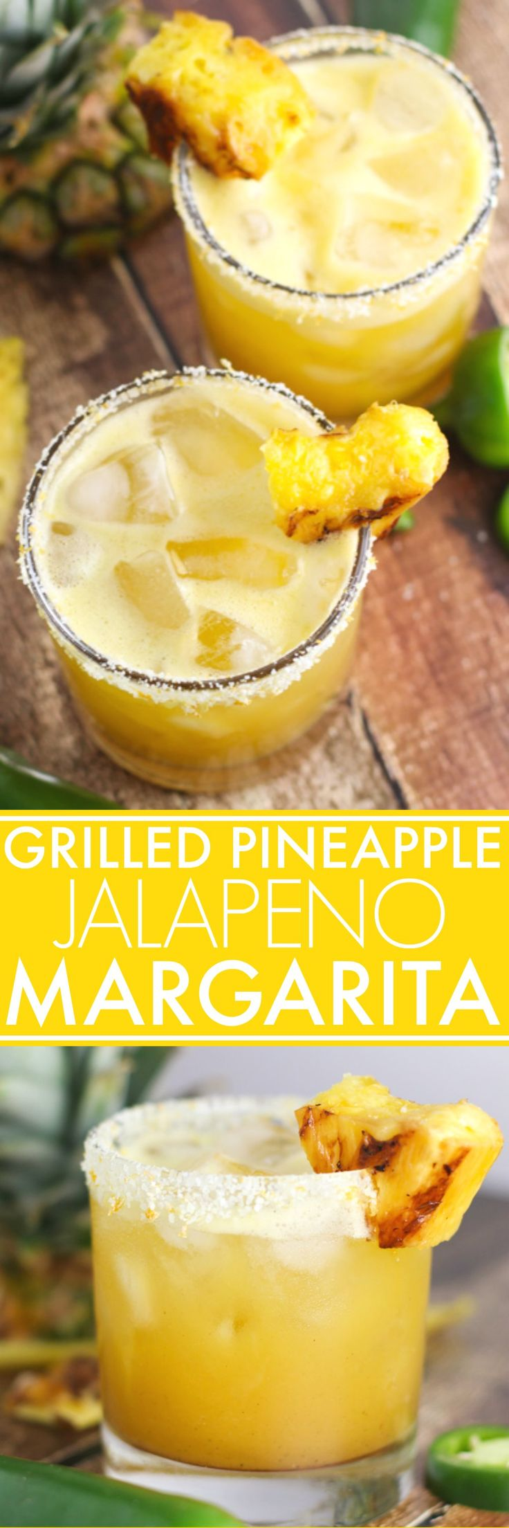 Grilled Pineapple Jalapeno Margaritas are the perfect blend of sweet, spicy, and smoky. Caramelized grilled pineapple combines with jalapeno infused tequila & a splash of vanilla. | platingsandpairings.com
