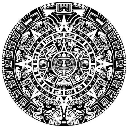 Mayan calendar on white background photo