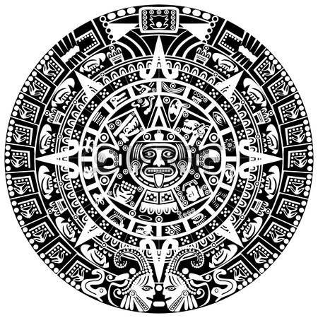aztec sun: Calendario maya en el fondo blanco Vectores