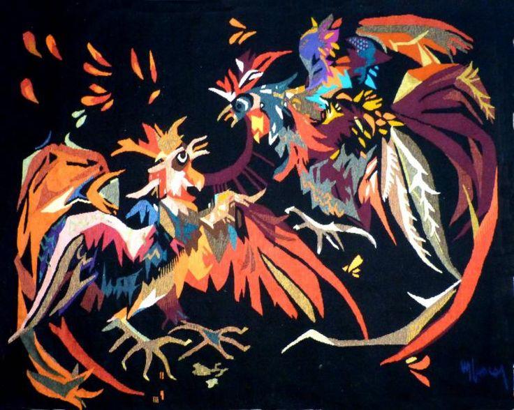 Antiquité Tapisserie d'Aubusson Art Moderne par Jean Lurçat combat de coqs