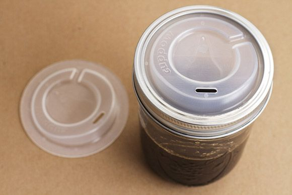 Cuppow! Lids that turn regular mason jars into travel cups.