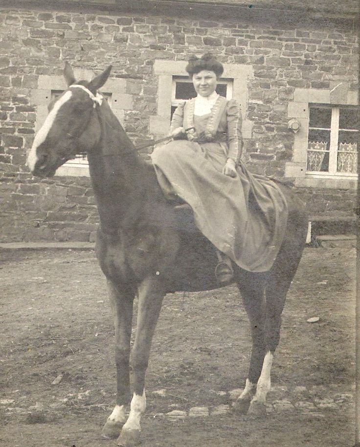 My grandmother Marie-Eugénie PIGNOLET riding a horse in the amazon way in the 1920's I guess. She was born in 1889.