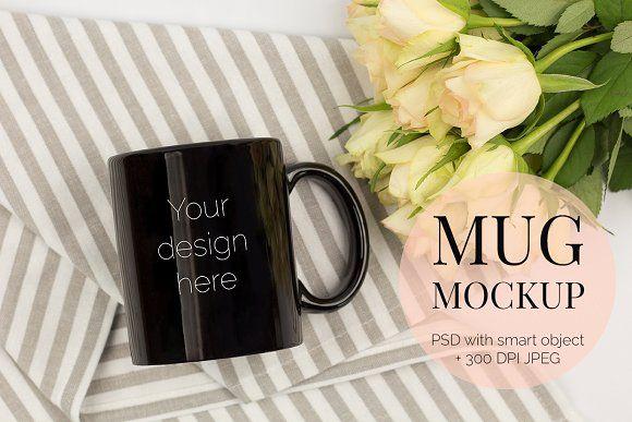 Black Mug Mockup PSD with Roses by Kreanille Design on @creativemarket