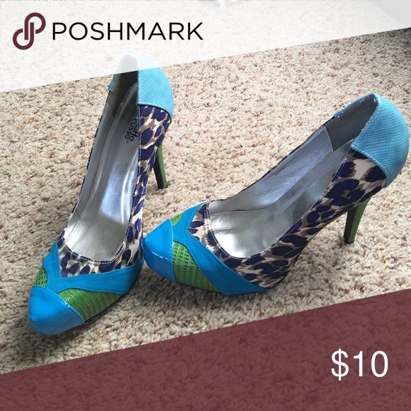 High Heels Colorful blue and green animal print high Heels. Charlotte Russe Shoes Heels