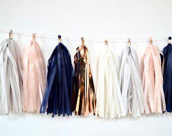guirnalda de borla oro azul marino y rosa - decoración de ducha género neutro - Marina de guerra blush borla gris garland - photobooth telón de fondo - azul y rosa decoración