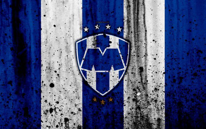Download wallpapers 4k, FC Monterrey, grunge, Liga MX, soccer, art, Primera Division, football club, Mexico, Monterrey, stone texture, Monterrey FC