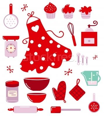 Icons or accessories for housewife isolated on white - ilustração de vetor por lordalea - Stockfresh #1536456