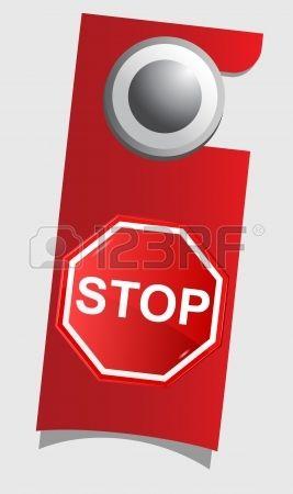 Poignée porte avec panneau d'arrêt, vecteur Banque d'images