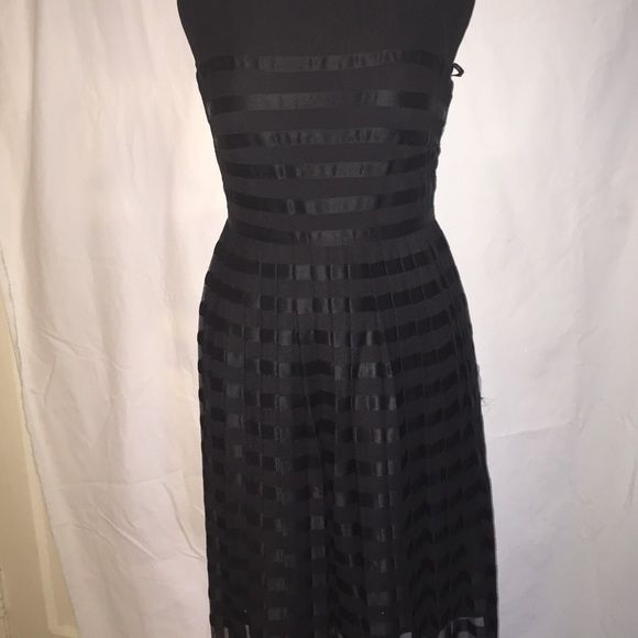Classic Evening Dress Sleeveless mesh dress with satin stripes. Buttonhole closure with back zip. Wonderful dinner or evening affair. Calvin Klein Dresses