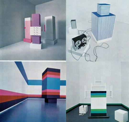 """Ettore Sottsass, furniture from """"Katalogo Mobili 1966 – studi per Poltronova in laminato plastico Print"""", Domus 449, 1967. Via aisdesign"""