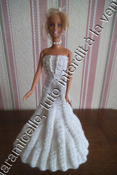 Robe de mariée tricotée pour poupée Barbie - tutoriel