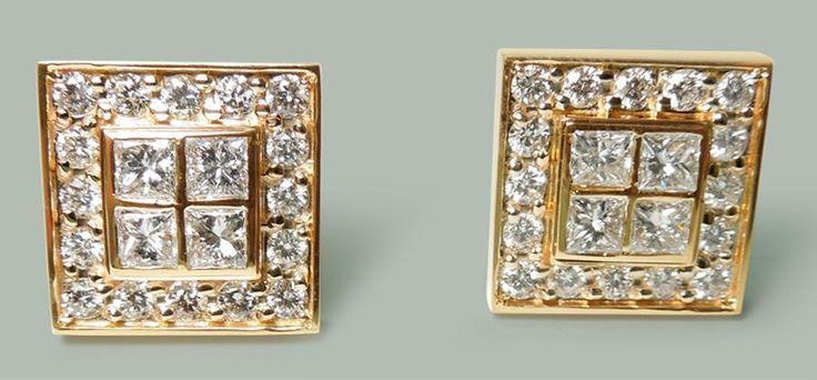 3.50 ct. Diamonds and 18K Yellow gold cuff links men's cufflinks     FGCL210001