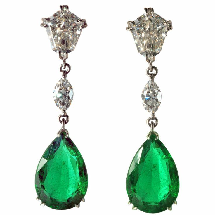 Very Fine Platinum,Emerald and Diamond Earrings