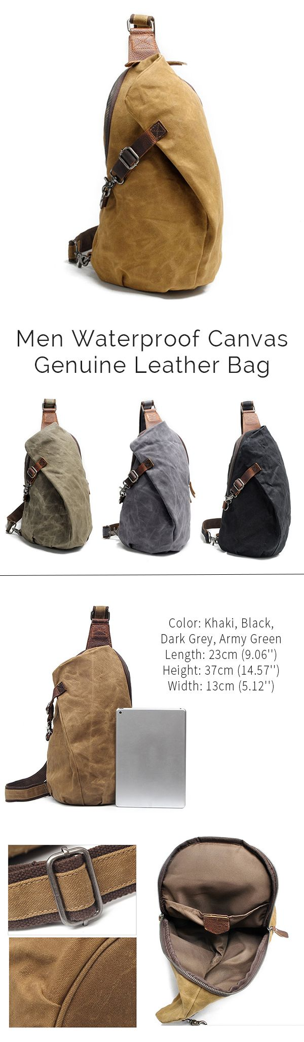 Waterproof Canvas Leather Chest Bag /Crossbody Bag #style