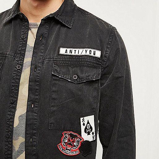 Black washed badge denim shirt - long sleeve shirts - shirts - men
