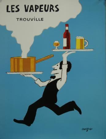 Affiche Ancienne Originale Les vapeurs Trouville Par Savignac