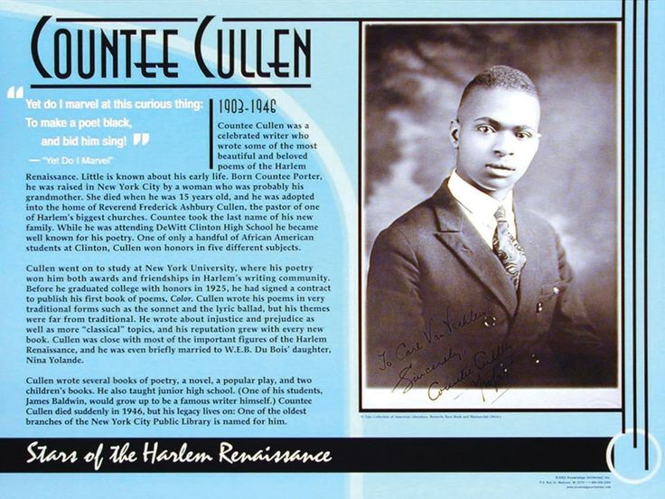 an timeline of the life and works of countee cullen an american poet From poems on various subjects, religious and moral  narrative of the life of  frederick douglass, an american slave, written by  countee cullen (1903 –1946)  selected bibliographies timeline audio companion liner notes.