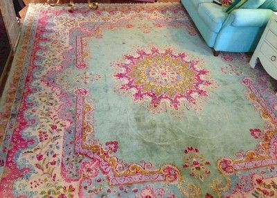 Mid-Century Persian Kerman Rug Pink and Torquoise