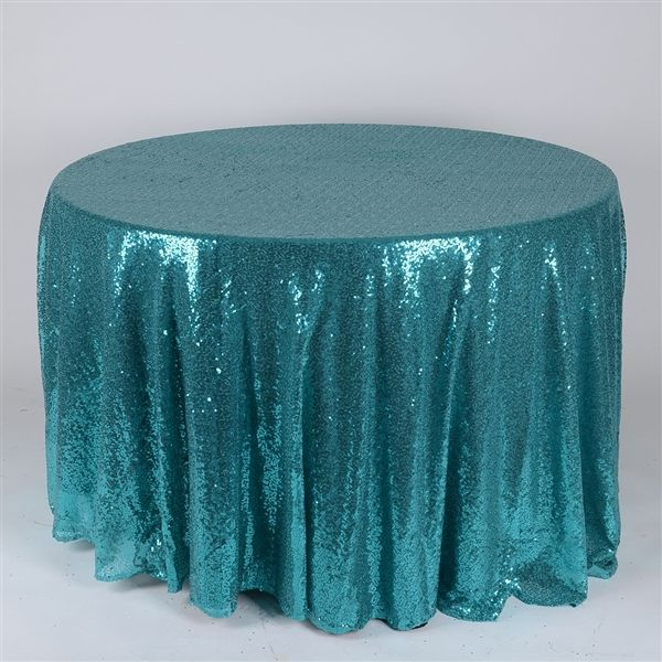 TURQUOISE 120 Inch ROUND #Duchess_SEQUIN_Tablecloth Sale Price: $50.99