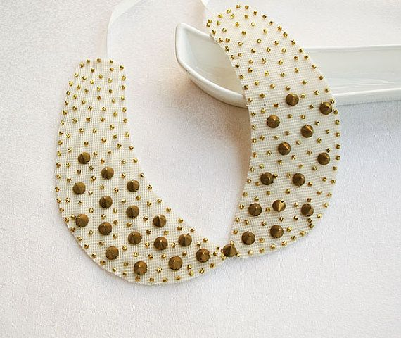 Peter Pan Collar Beige Studded Collar Col Claudine by aynurdereli, $29.00
