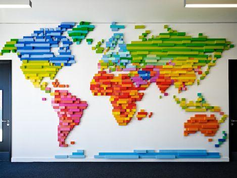 Morag Myerscough - World map Dagenham Park School made of individually painted blocks of wood