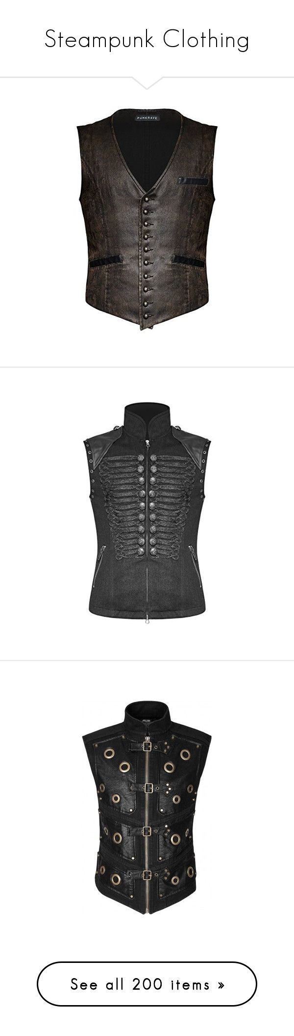 """Steampunk Clothing"" by selene-cinzia ❤ liked on Polyvore featuring men's fashion, men's clothing, mens clothing, steampunk mens clothing, gothic mens clothing, vintage mens clothing, outerwear, vests, goth vest and punk rock vest"