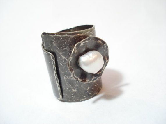 Silver Pearl Hammered Band Adjustable Statement Silver Cuff