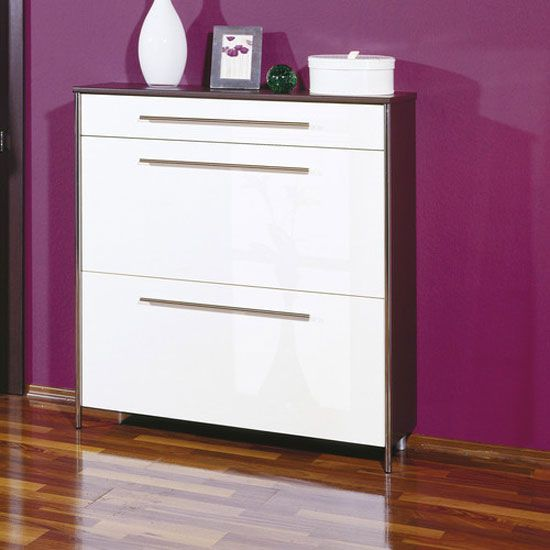 sandra shoe cabinet in wenge with high gloss white fronts