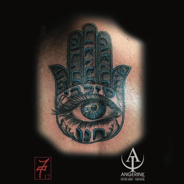 70  Eye Tattoo Art Design Ideas:Blue Hamsa With Realistic Eye Tattoo Art Design
