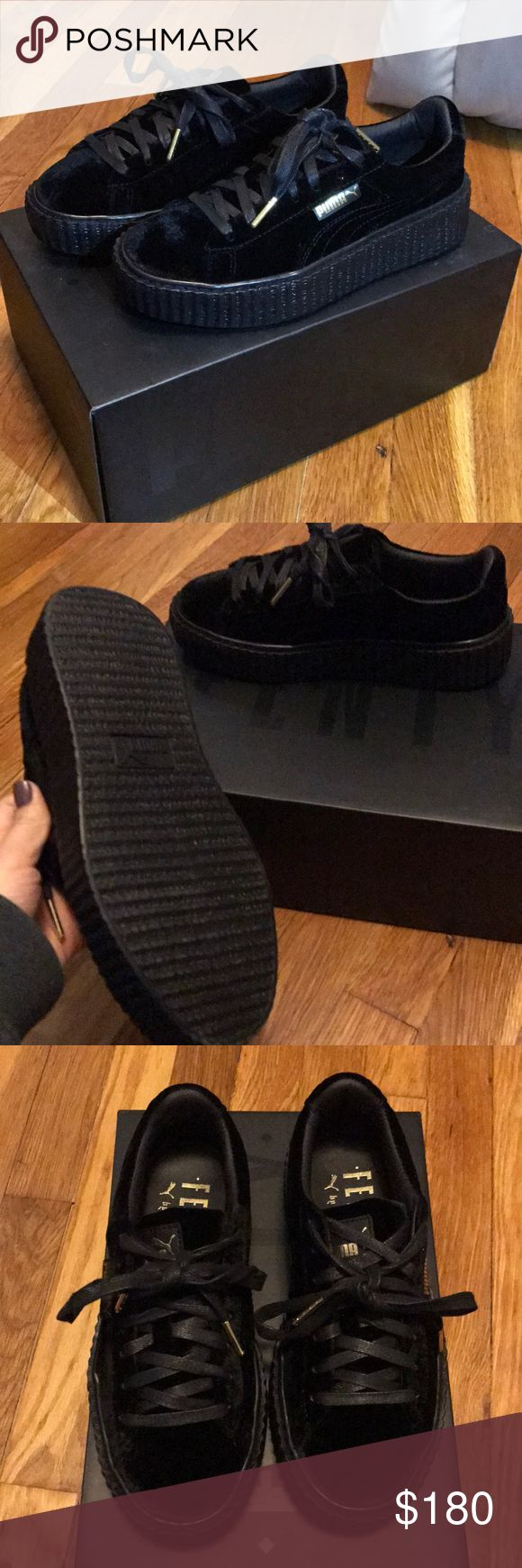 PUMA Rihanna Velvet Creeper PUMA Rihanna Velvet Creeper Sneakers. NEVER WORN PERFECT CONDITION. All black Velvet Size 6. No trades offers accepted through the offer button. 😊 Puma Shoes Sneakers