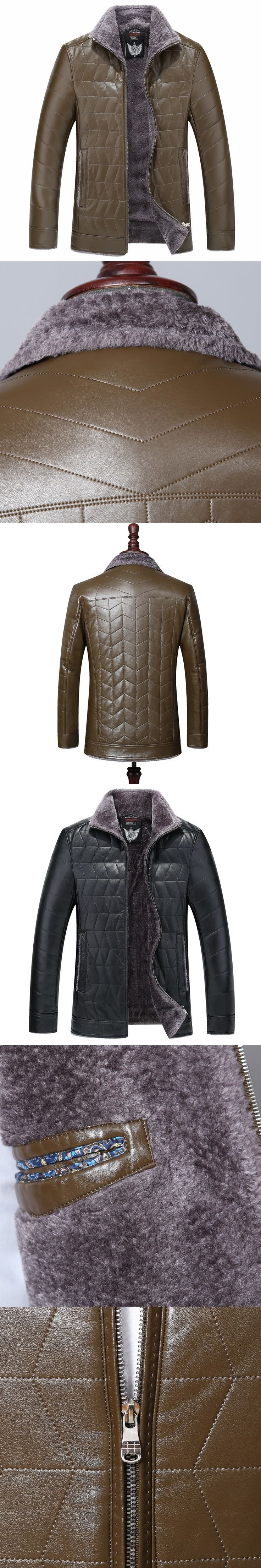2017 new Winter Leather Jacket for Men Fashion Brand Brown Sheepskin Jackets and Coats with Wool Lining New Arrival