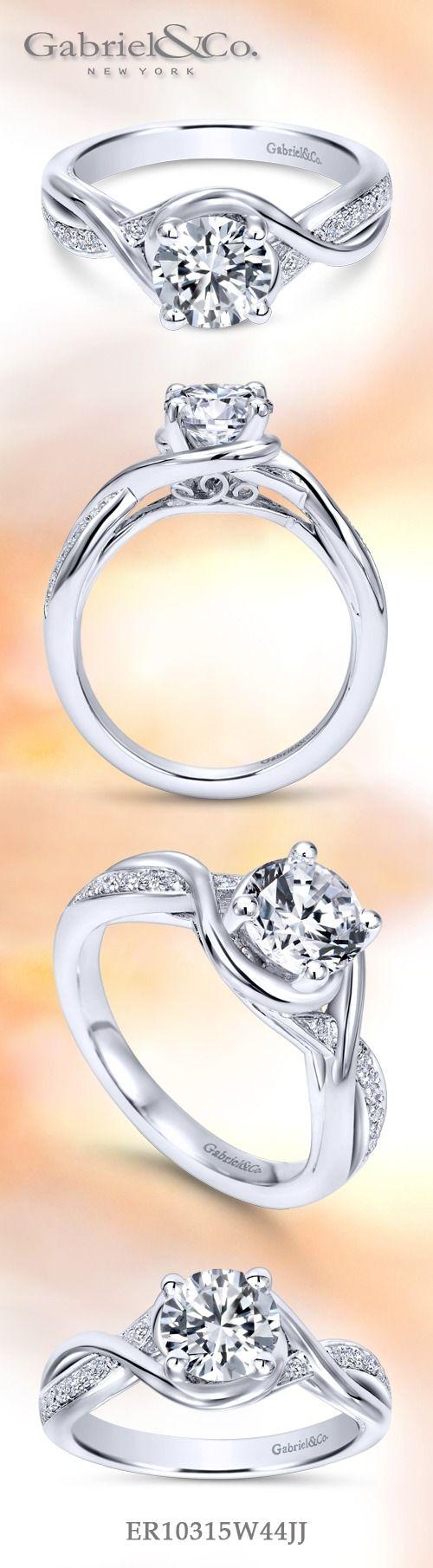 14k White Gold Diamond Criss Cross Round Engagement Ring