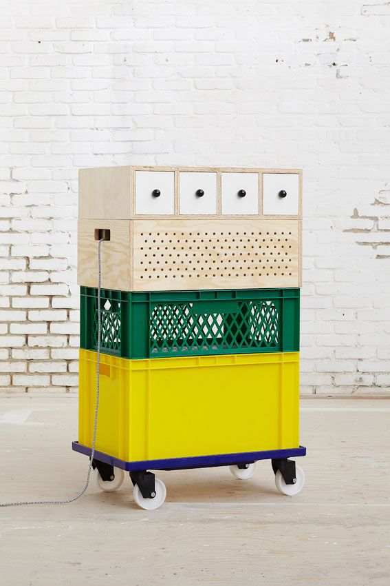 Crates on wheels.