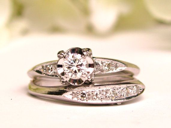 Vintage Engagement Ring Illusion Set 0.41ctw Diamond Wedding Ring Set 14K White Gold Vintage Bridal Set Size 6!