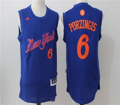 98ac94b89 ... Swingman White Jersey NBA New York Knicks 6 Kristaps Porzingis Blue  2016 2017 Christmas Xmas Day Basketball Jersey ...