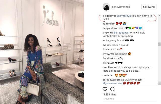 Is He Interested? Emmanuel Adebayor Hollas At Genevieve Nnaji On Her Instagram