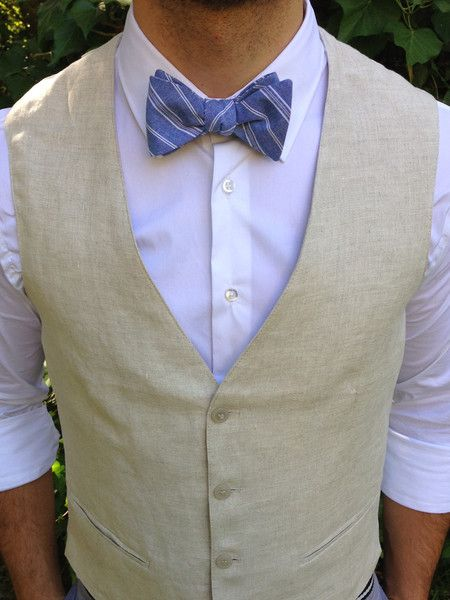 Striped Chambray Hustle Bow Tie (Made in the USA) w Zara Linen Vest. Dapper Gatsby-style Accessory for the Modern Man. Engagement. Wedding. Groom. Groomsmen. Summer or Spring. Gift for Guys.