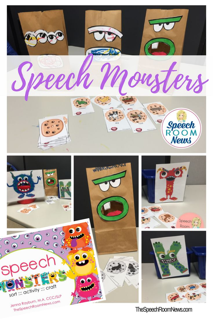 Speech Monsters. A craft, activity, and other fun sorting activities. From Jenna at Speech Room News