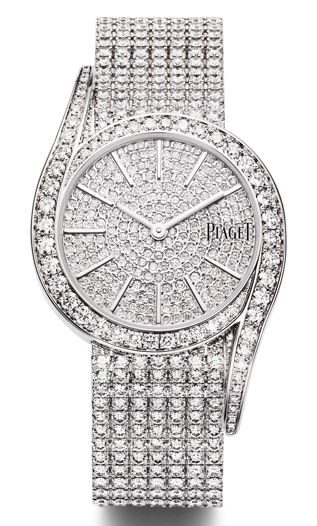 Piaget Limelight Gala watch in white gold and diamonds, with a fully pavéd dial, bracelet and clasp.