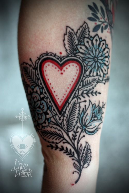 Heart and flower in red, blue, and black by David Hale, Love Hawk Studio