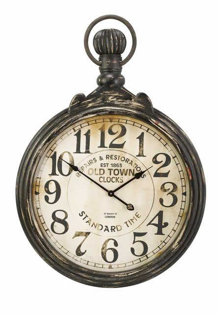 A touch of Old World | large, rustic, antiqued, pocket watch-esque round wall clock